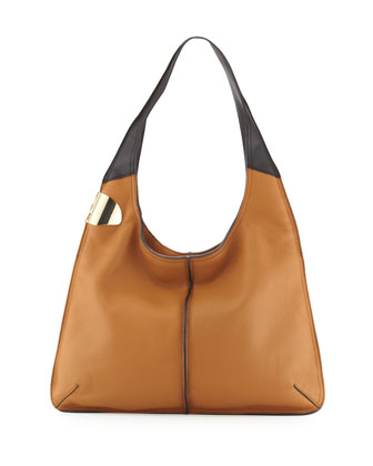Leather Sack Hobo Bag, Tan Multi