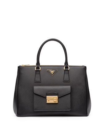 Saffiano Galleria Tote with Pocket, Black (Nero)