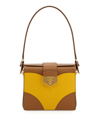 Bicolor Saffiano Turn-Lock Satchel Bag, Brown/Yellow (Caramel+ Mimosa)