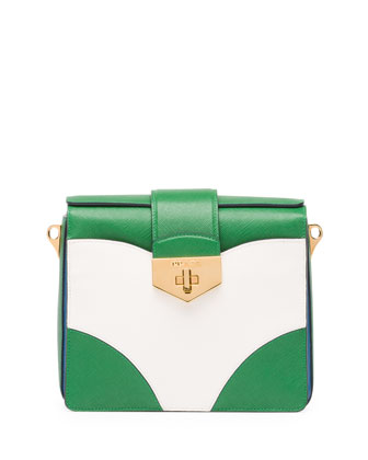 Bicolor Saffiano Turn Lock Shoulder Bag, Green/White/Blue ...