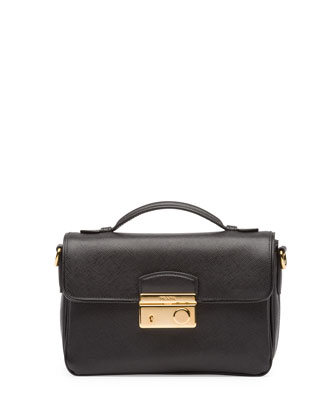 Saffiano Small Crossbody Bag, Black (Nero)