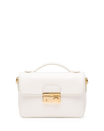 Saffiano Small Crossbody Bag, White (Bianco)