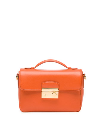 Saffiano Small Crossbody Bag, Orange (Papaya)