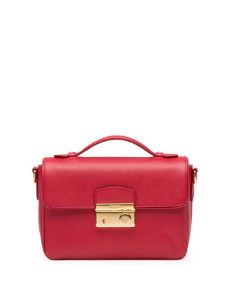 Saffiano Small Crossbody Bag, Red (Fuoco)