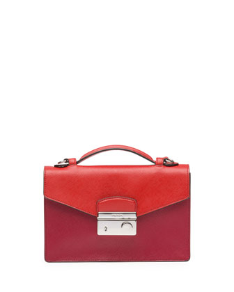 Bicolor Saffiano Crossbody Clutch, Red/Orange (Fuoco+Lacca)