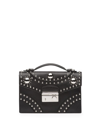 Studded Saffiano Crossbody Clutch, Black (Nero)