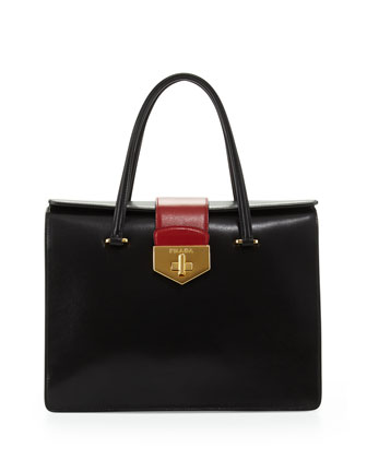 Bicolor Box Calf Satchel, Black/White/Red (Nero+Talco+Russo)