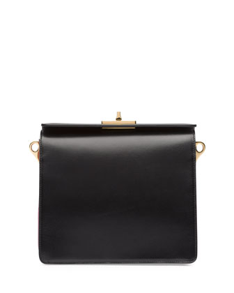 Bicolor Box Calf Shoulder Bag, Black/Pink (Nero+Begonia)