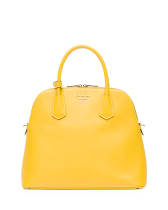 Saffiano Cuir Large Dome Satchel Bag, Yellow (Giallo)