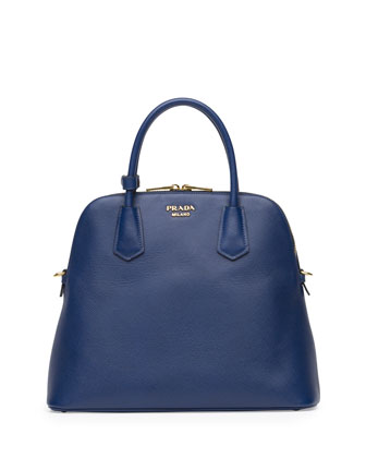 Saffiano Cuir Large Dome Satchel Bag, Blue (Bluette)