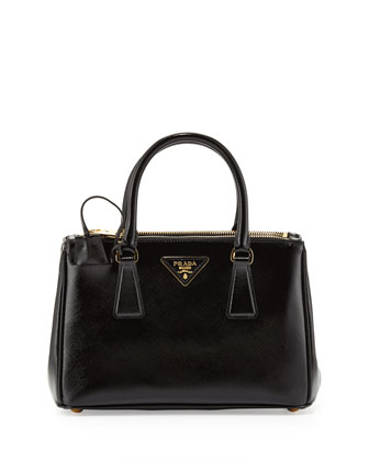 Saffiano Vernice Mini Double-Zip Crossbody Bag, Black (Nero)