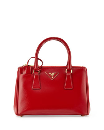 Saffiano Vernice Mini Double-Zip Crossbody Bag, Red (Rosso)