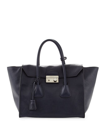 Glace Calf Large Twin Pocket Tote Bag, Navy (Baltico)
