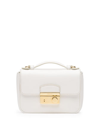 Saffiano Mini Crossbody Clutch, White (Bianco)