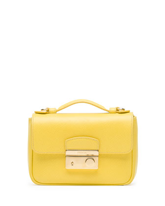 Saffiano Mini Crossbody Clutch, Yellow (Girasole)