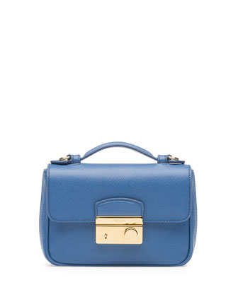 Saffiano Mini Crossbody Clutch, Blue (Cobalto)