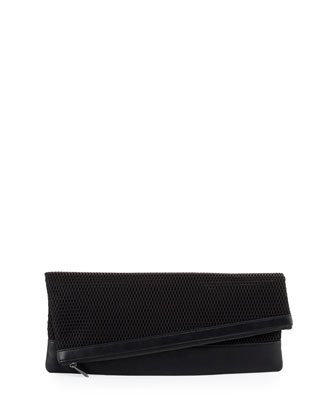 Asymmetric Mesh Fold-Over Clutch Bag, Black