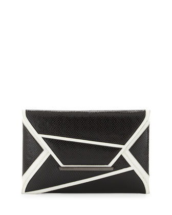 Embossed Geometric Envelope Clutch Bag, Black