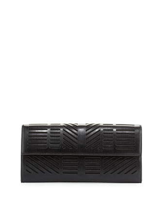 Geometric Laser-Cut Clutch Bag, Black