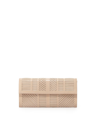 Geometric Laser-Cut Clutch Bag, Bare Pink