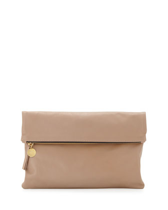 Maison Leather Fold-Over Clutch Bag, Blush