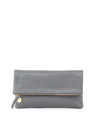 Maison Fold-Over Clutch Bag, Gray Pebble