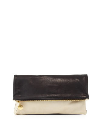 Supreme Fold-Over Clutch, Black/Cream