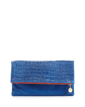 Supreme Croc-Embossed Fold-Over Clutch, Blue