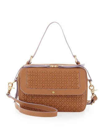 Leila Woven Double-Zip Crossbody Bag, Tobacco