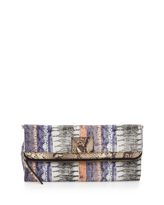 Banker's Snake-Print Fold-Over Clutch Bag