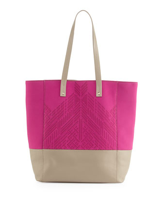 Neoprene Zuma Tote Bag, Fuchsia/Tan