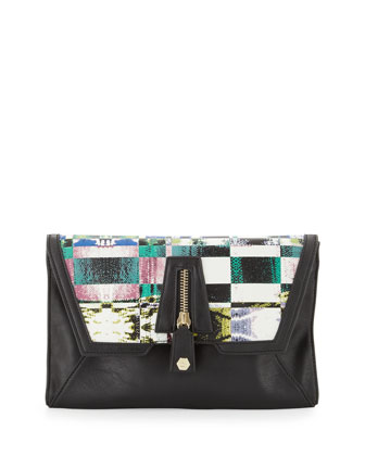 Cari Printed-Flap Clutch Bag, Geo