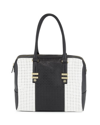 Billy Perforated Satchel Bag, White/Black