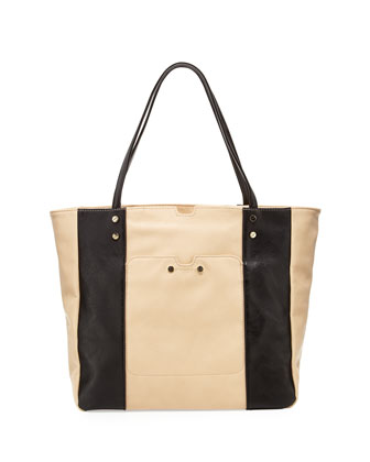 Portofino Two-Tone Tote Bag, Nude/Black