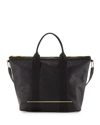 Bar-Detail Zip Tote Bag, Black