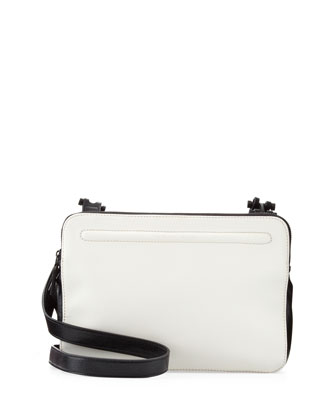 Bicolor Triple-Zip Crossbody Bag, Black/White