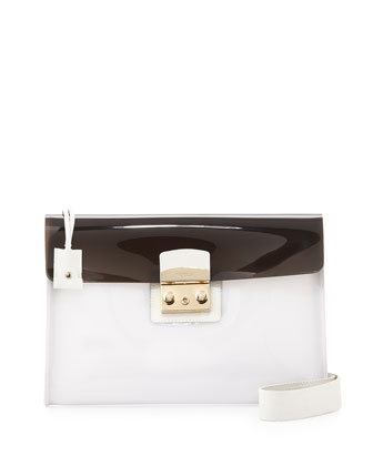 Candy PVC Pochette Shoulder Bag, Vanilla/Petalo