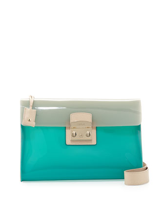 Candy PVC Pochette Shoulder Bag, Menta/Vanille
