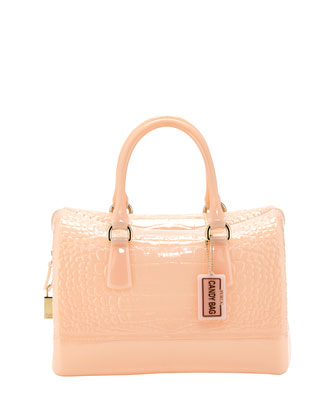 Croc-Print Medium Rubber Satchel Bag, Magnolia