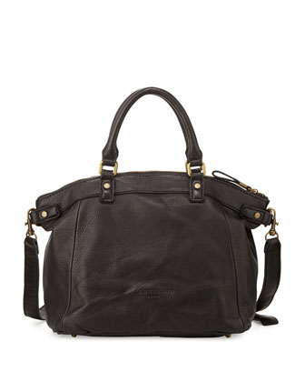 Ginny Leather Satchel Bag, Black