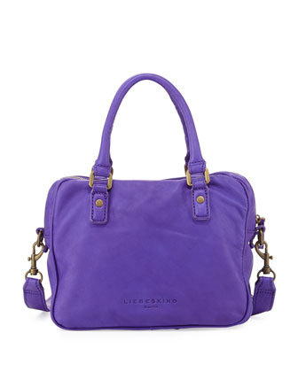 Miley Tumbled-Leather Satchel Bag, Lila