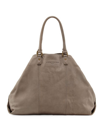 Annabel Leather Trapezoid Tote Bag, New Flint