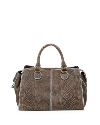 Lillie Snake-Print Satchel Bag, Black
