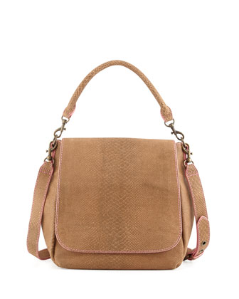 Memphis Snake-Print Shoulder Bag, Spice
