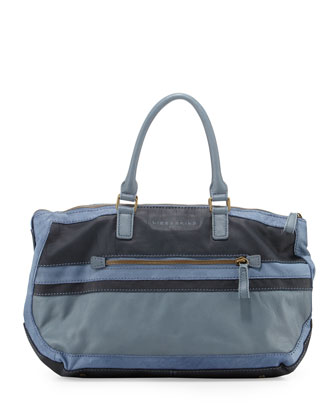 Tracy Two-Tone Shoulder Bag, Mix Blue