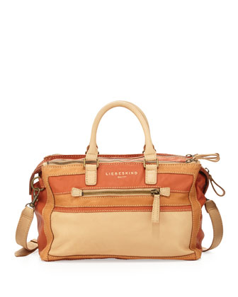 Abbie Triple-Zip Satchel Bag, Cream Mix