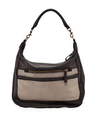 Dinah Two-Tone Zip Hobo bag, Black Mix