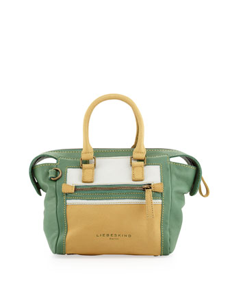 Madeline Colorblock Satchel Bag, Mixed Green