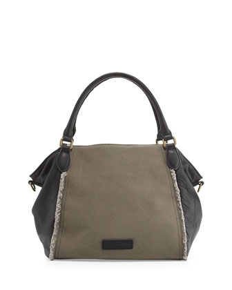 Dara Fringed Canvas Satchel Bag, Grey/Black