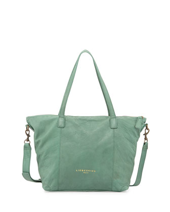 Kaethe Tumbled Leather Tote Bag, Green